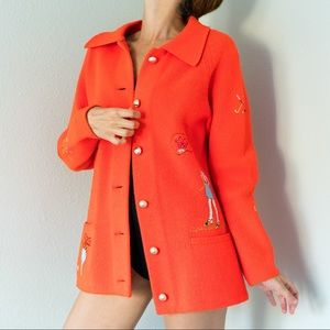 Vintage 50s Golf Themed Cardigan Small S